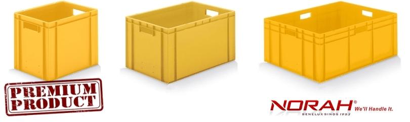 Kunststof bakken in kleur geel