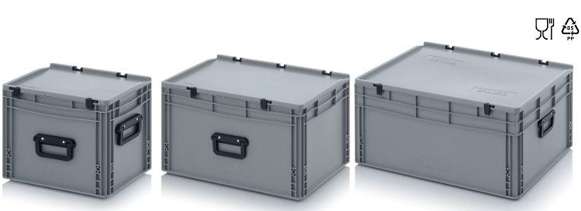 Kunststof stapelbare koffers met handgrepen