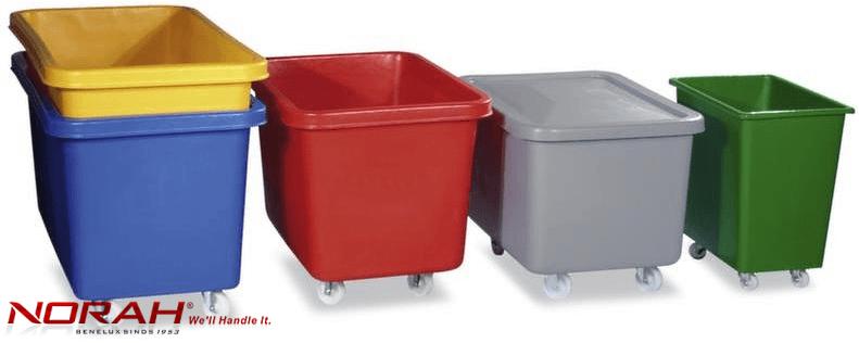 Verrijdbare transportbakken gekleurd