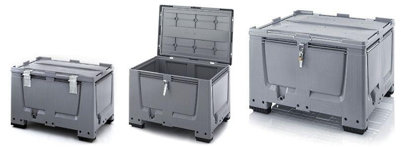 Kunststof palletboxen met spansluiting slotsysteem