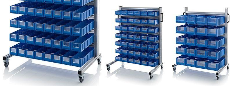 Stellingbakken wagens voor magazijn en werkplaats