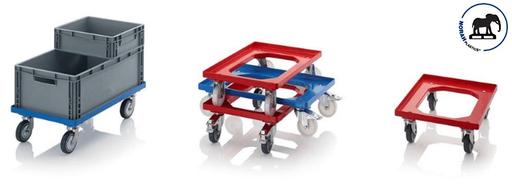 Transport onderstellen met nylon wielen 60x40 cm