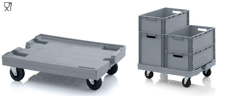 Transport onderstellen met rubber wielen 80x60 cm