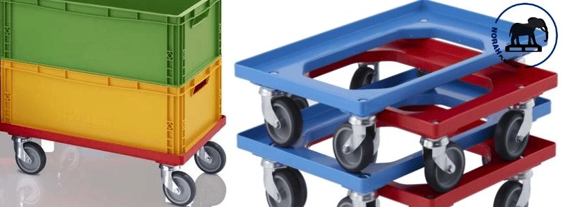 Transport onderstellen met rubber wielen 60x40 cm
